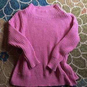 Pink side slit mock neck Aerie sweater